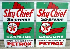 1959 & 1960 Texaco Sky Chief Su-preme Petrox Porcelain Pump Plate Signs   Love this picture!  Have a look at at all these great signs I found for your mancave all starting at a penny!  Just Click the photo above:  http://stores.ebay.com/clockworkalpha/