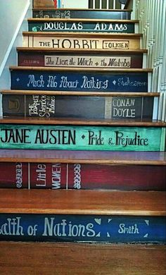What s cute idea for a book lover. So creative! A great way to liven up a basement or attic staircase.