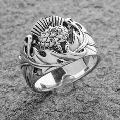 Rings: Scottish Thistle Ring – Sterling Silver | Celtic Jackalope