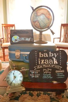 Travel Themed Baby Shower - Project Nursery Several Easy Babyshower Game Ideas Babyshower games thou Airplane Baby Shower, Baby Shower Niño, Baby Shower Vintage, Baby Shower Signs, Baby Shower Cupcakes, Baby Shower Balloons, Baby Shower Themes, Shower Ideas, Baby Theme