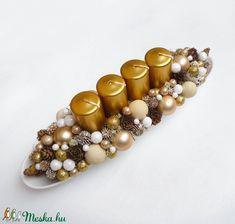 Adventi tál arany színben (Decoflor) - Meska.hu Advent Candles, Xmas Decorations, Pearl Earrings, Beaded Bracelets, Pearls, Ornaments, Jewelry, Pearl Studs, Jewlery