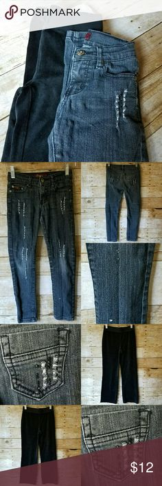 BUNDLE! 2 PC GIRLS 6 JEANS & WARM  VELOR PANTS!!! BUNDLE! 2 PC GIRLS 6 JEANS & WARM  VELOR PANTS!!! *Size: 6 & 6X *1 Ling's Jeans USA Brand Black Distressed Jeans -Loose threading on bottom left leg (see pic) *1 Circo Brand Black Velour Sweat Pants  *Smoke-free home! *FAST SHIPPING!!!  FEEL FREE TO MAKE OFFERS!!!   Have a lovely day and thank you!  xoxo  @RandomFindings Bottoms