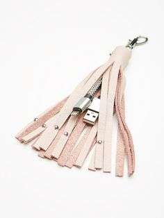 Leather Keychain iPhone Charger | American made statement fringe leather…