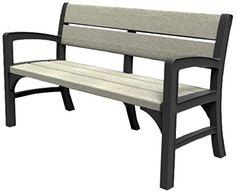 Keter Montero Wood Look 3-Seater Outdoor Garden Furniture Bench, Soft Grey