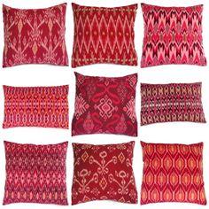 Ikat Pillows Set of 9 RedPink Coral by on Etsy. Ikat Pillows, Cushions, Textiles, Indonesian Decor, Batik Pattern, Bali Fashion, Pillow Set, Pillow Talk, Soft Furnishings