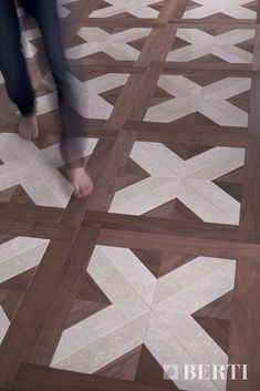 Berti Wooden Floors,  Pre-finished Pattern Floors. Wood description:  American Walnut and Botticino marble. #parquet #parquetlovers