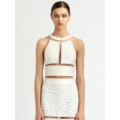 Alexander Wang Reptile Silk Illusion Crop Top ($2,500) ❤ liked on Polyvore