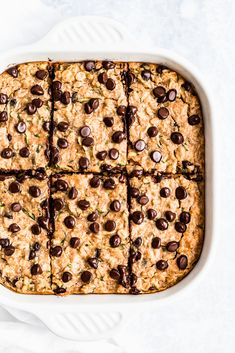 Peanut butter zucchini bread baked oatmeal that tastes like a peanut butter oatmeal cookie! Packed with protein, freezer-friendly and perfect for making ahead for breakfasts during the week. Serve warm with a dollop of peanut butter on top. Double Chocolate Zucchini Muffins, Banana Zucchini Muffins, Zucchini Bread, Mini Chocolate Chips, Healthy Zucchini, Peanut Butter Oatmeal, Healthy Peanut Butter, Peanut Butter Recipes, Chocolate Peanut Butter