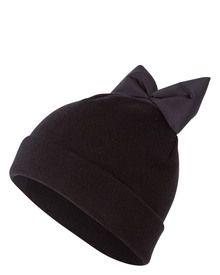 federicamoretti-blu-accessoires-schwarze-beanie-mit-moderner-schleife