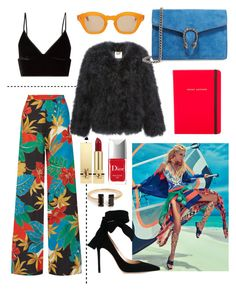 """""""Brazilian flair"""" by leatara ❤ liked on Polyvore featuring T By Alexander Wang, Alice + Olivia, Gianvito Rossi, Hakusan, Marc Jacobs, Gucci, Yves Saint Laurent and Christian Dior"""