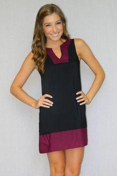 Game Day Tunic Dress (Black/Garnet) – Girly Girl Boutique