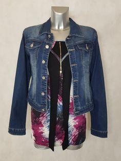 dbe5d5091b49c Look #Tunique femme #ronde droite motif abstrait manches longues et veste #jeans  taille