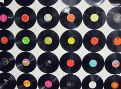 Potentially use old records to create a graphic wall/vintage pattern--tie into the sinatra theme at the same time.