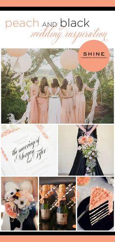 Peach and Black Wedding Inspiration - Calligraphy Wedding Invitations, Stripes, Peach Bridesmaids Dress, Peach Bouquet