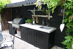 Our beautiful outdoor kitchen. Our beautiful outdoor kitchen. It has turned out exactly as we had in mind. Outdoor Living Rooms, Outside Living, Outdoor Spaces, Outdoor Decor, Parrilla Exterior, Pantry Inspiration, A Frame House Plans, Outdoor Cabana, Patio Grill