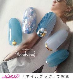 Summer / sea / resort / date / hand-nail design for Nanaho ☆ nail (Yao city, Nail book Many … Japanese Nail Design, Japanese Nail Art, Nail Swag, Trendy Nails, Cute Nails, Asian Nails, Nail Art Techniques, Beach Nails, Beach Nail Art