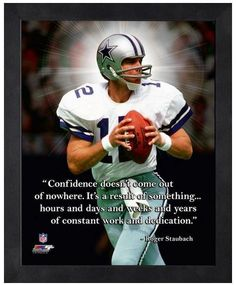 "Roger Staubach Dallas Cowboys - 11"" x 1 4"" Framed ""Pro Quotes"""