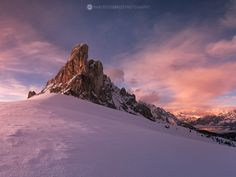Magic winter sunset on Giau Mountain Pass, Dolomites, Northern Italy.