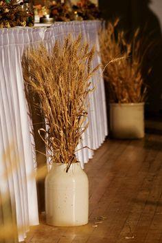 Rustic Decor atan Elegant Farm Wedding in Rosedale, Manitoba.  But maybe sea oats instead?