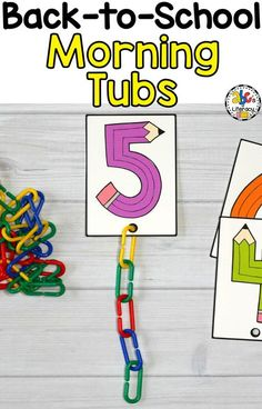 Morning work should never be boring! These Back-to-School Morning Tubs are fun hands-on activities u Morning Activities, Back To School Activities, Hands On Activities, Preschool Activities, Work Activities, Addition Activities, Number Activities, Kindergarten Centers, Kindergarten Classroom