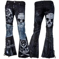 Stage Pants MTO - Distressed Black and Blue Denim (Diy Ropa Rockera) Punk Outfits, Gothic Outfits, Cool Outfits, Fashion Outfits, Womens Fashion, Skater Outfits, Disney Outfits, Style Emo, My Style