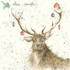 Wrendale Designs Christmas Card NEW Deer Santa baubles robin Christmas Deer, Christmas Animals, Christmas Pictures, Vintage Christmas, Xmas, Animal Paintings, Animal Drawings, Wrendale Designs, Christmas Paintings