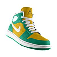 I designed the gold Norfolk State Spartans Air Jordan Alpha 1 iD basketball shoe with green and white trim.