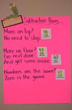Subtraction poem. Equating Earthworm_Math Intervention Strategy. Number sentence, equations, traditional algorithms.