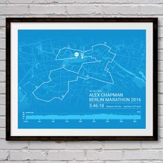 Personalised BERLIN Marathon Poster / Memento / by Sleepydogdesign
