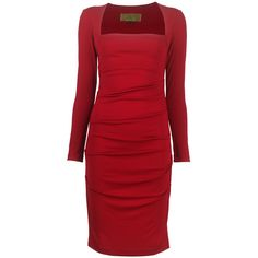 Nicole Miller Tuck Dress (€100) ❤ liked on Polyvore featuring dresses, short dresses, red, vestidos, holiday cocktail dresses, short cocktail dresses, red holiday dresses, red holiday cocktail dress and short red dress