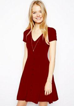 Fashoin Enchating Fashionable Dizzying Red Blending V Neck Short Sleeve Plain Fashion Dresses