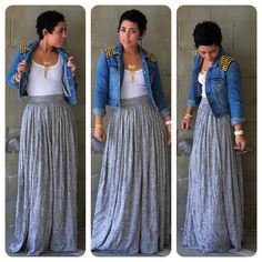 OOTD: DIY Maxi Skirt Denim DIY Studded Jacket ***A dirndl in a light fluid knit can be similar enough to an a-line maxiBridesmaids outfits orange or brown top with black maxi dress jean jacket or shirt with cowgirl boots Told Beth and kaylie to personaliz Cute Fashion, Modest Fashion, Look Fashion, Diy Fashion, Autumn Fashion, Fashion Outfits, Fashion Women, Mode Chic, Mode Style