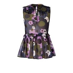 Flower Explosion Georgette Sleeveless Top Lilac