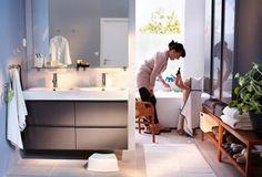 Light grey tile, godmorgen (ikea) sink cabinet