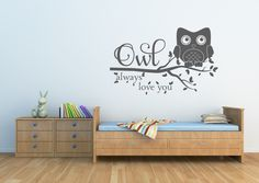 A personal favorite from my Etsy shop https://www.etsy.com/listing/187919619/owl-decor-owl-always-love-you-wall-decal