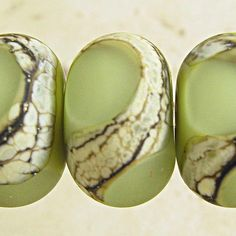 Green Glass Beads Handmade Lampwork Etched Frosted by SpawnOfFlame