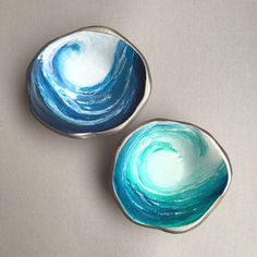 Surf's Up! Tidal Wave, is a handmade polymer clay trinket dish - made for the ocean lovin' mermaids to keep track of their gems and jewels! Two color choices. ( $25/ea.) #trinketdish #ringdish #jewelrydish
