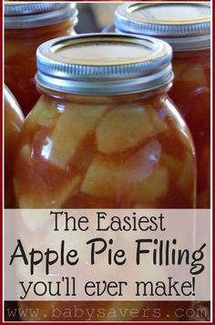 Easy Apple Pie Filling Recipe   Homemade recipes for canning   Best stovetop apple pie filling for crisps   how to make apple pie filling   simple   desserts   how to can apples to save money