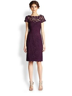 ML Monique Lhuillier - Lace Dress - Saks.com -- probably too dark