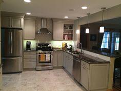 Taupe cabinets with Cambria quartz countertops Taupe Kitchen Cabinets, Kitchen Countertops, Cambria Quartz Countertops, Kitchen Design, Kitchen Decor, Home Kitchens, Kitchen Remodeling, Remodeling Ideas, Home Decor