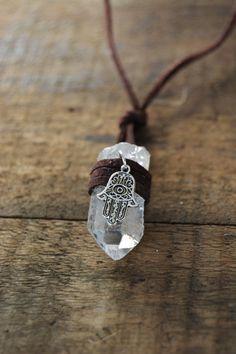 Hamsa Hand Crystal Wrapped Necklace - boho bohemian jewelry zen spiritual gypsy tumblr hipster gemstone natural stone white crystal by HandmadeByHillaaryy on Etsy