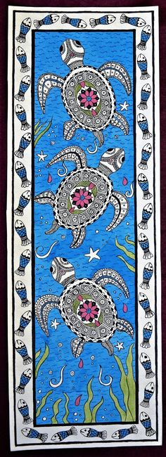 Items similar to madhubani painting turtle with fishes boarder on handmade paper with acrylic paint on Etsy Madhubani Paintings Peacock, Kalamkari Painting, Madhubani Art, Indian Art Paintings, Buddha Painting, Turtle Painting, Worli Painting, Canvas Painting Designs, Abstract Paintings