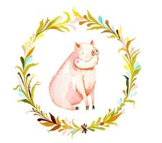 Sweet Pig      horizontal print by thewheatfield on Etsy, $18.00