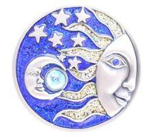 Smiling sun moon stars, cobalt blue metal Trinket Box with rhinestones. $42.00
