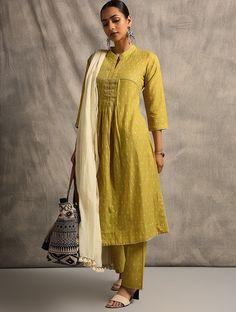 Yellow Handloom Ikat Cotton Kurta with Pintucks
