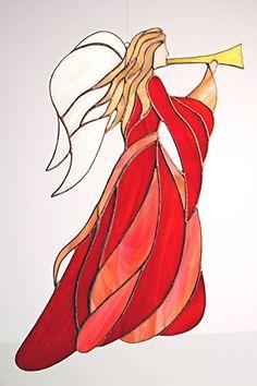 "Glas- Fensterbild, Glashänger ""Jugenstil Engel mit Trompete"" groß rot/orange, Glasbild: 34,5 x 28 cm, Tiffany Glas Manoeye http://www.amazon.de/dp/B00OX48SC6/ref=cm_sw_r_pi_dp_qi1twb0CXJW7T"