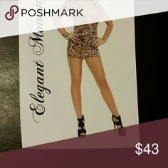 Elegant Moments Tan Leopard Super Plunge Body-Con This is a leopard print body con dress. Fits size L Elegant Moments  Intimates & Sleepwear