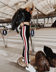 traveling in style | sporty stripe pants