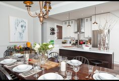 DANIELLE NICHOLAS BRYK » LOVE IT. LIVE IT. » Designs Kitchen Dining Combo, Modern Design, My Design, Types Of Fashion Styles, Home Kitchens, Table Settings, New Homes, Dining Room, Interior Design