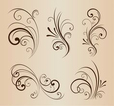 Free Vector Set of Swirling Flourishes Decorative Floral Elements Floral Vector Free, Swirl Tattoo, Free To Use Images, Tattoo Stencils, Stencil Patterns, Scroll Design, Swirl Design, Paint Designs, Graphic Design Art
